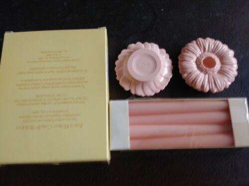 "Vintage Avon Pink/Fancy Flower 2 Candle Holders w 4  5"" candles 1985 NOS"