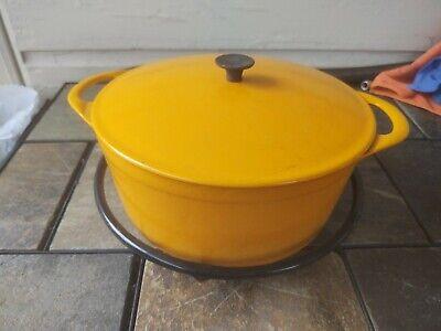 Vintage Cousances Cast Iron Enamel Dutch Oven #24 w/ Lid and Base Yellow Orange