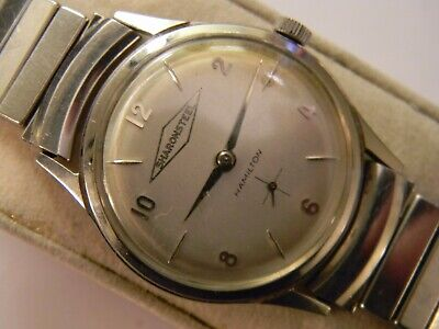 RARE FINE VINTAGE 1963 HAMILTON LAKELAND 40YR SHARON STEEL MENS STEEL WATCH RUNS