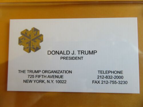 DONALD TRUMP, Business Card from his Company THE TRUMP ORGANIZATION-Acrylic Case