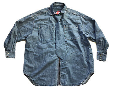 $498 Diesel Men's Red Tag SOTS01 Denim Shirt In Blue Made In Italy Size M