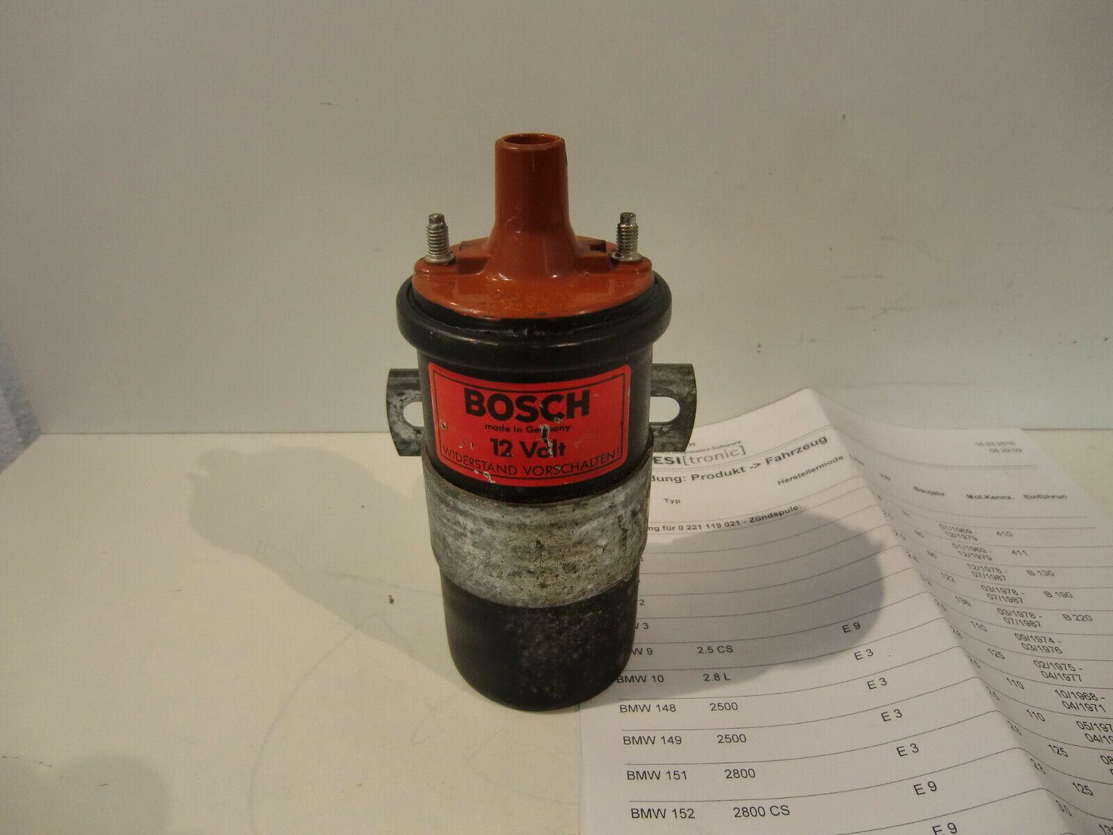 orig. 12 Volt Bosch Zündspule Nr. 0221119021 f. BMW E3 , E9 , E21 , E12 Oldtimer