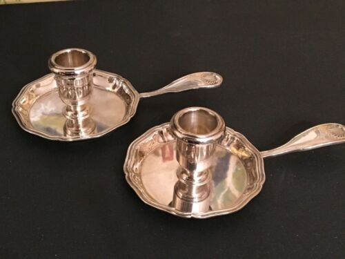 Vintage French Christofle Silver Plate Candle Holder w/Handle Shell Pattern Pair