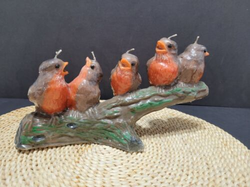 "Vintage robin bird candle, unlit, approx. 10"" x 5.5"""