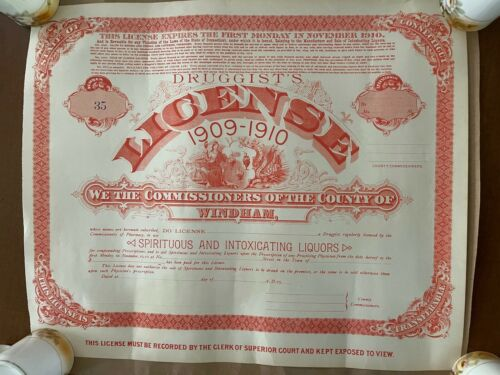 Antique 1909 1910 Druggist Spiritous Liquor License Medicinal Medicine Pharmacy