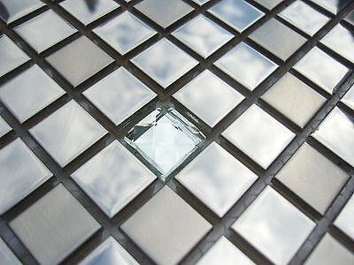 Glas Edelstahl Top (Glasmosaik Edelstahlmosaik Mosaik Metall Metalleffekt Fliese silber diamant TOP)