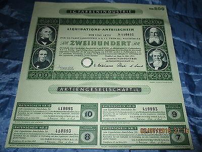 129 : historisch. Wertpapier , I.G. FARBEN , 200 RM , März 1953 , Frankfurt ,893
