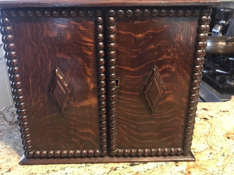Antique Oak Desk Top Cabinet/Organizer, with Beaded Trim