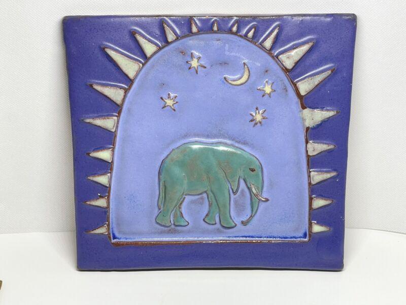 Eartha Pottery Handmade Tile Animal Icons Elephant- Teal Purple w/ Moon / Stars