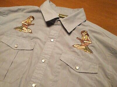 Howler Brothers Bros Gaucho Snapshirt - Hula Girl Embroidered - Medium - RARE