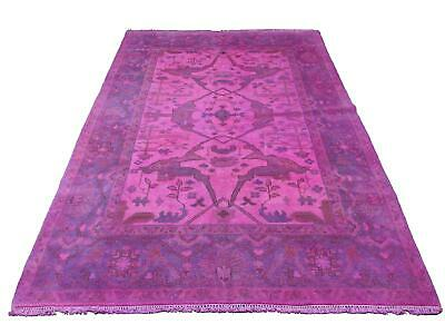 Hot Pink Carpet (6x9 Overdyed Hot Pink Rug Turkish Ushak 100% Wool)