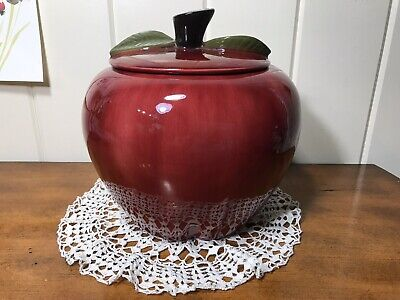 Vintage Large Kellogg Pottery Apple Cookie Jar 9""