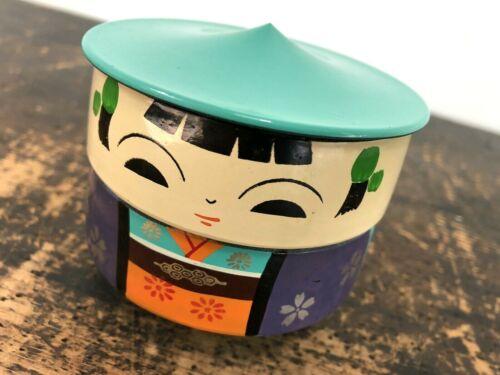 Vintage JAPANESE Lacquer KOKESHI Doll STACKING Bowls BENTO BOX Mid-Century MCM