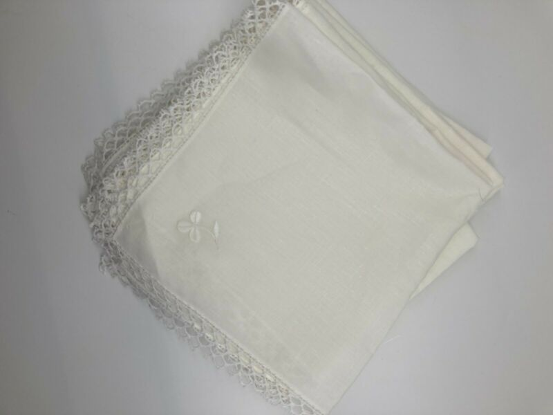 set of 10 new vintage embroidered linen napkins off white beautiful!