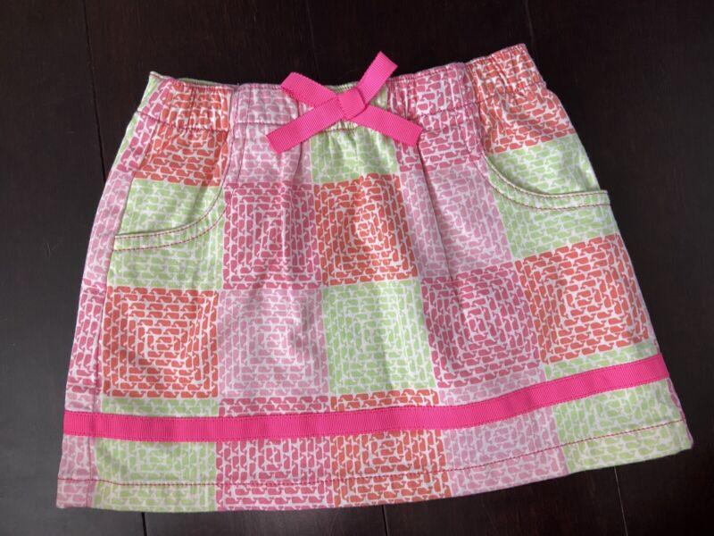 Vineyard Vines Girls 2T Skirt Neon Whales Pink Orange Green Stretch Elastic