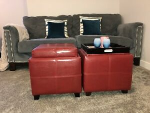 Red Storage Stools in Immaculate condition PRICE REDUCED