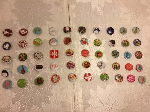 Christmas Holiday Mini Buttons 50 Pins Complete Set JCP 2012 JC Penney #n22