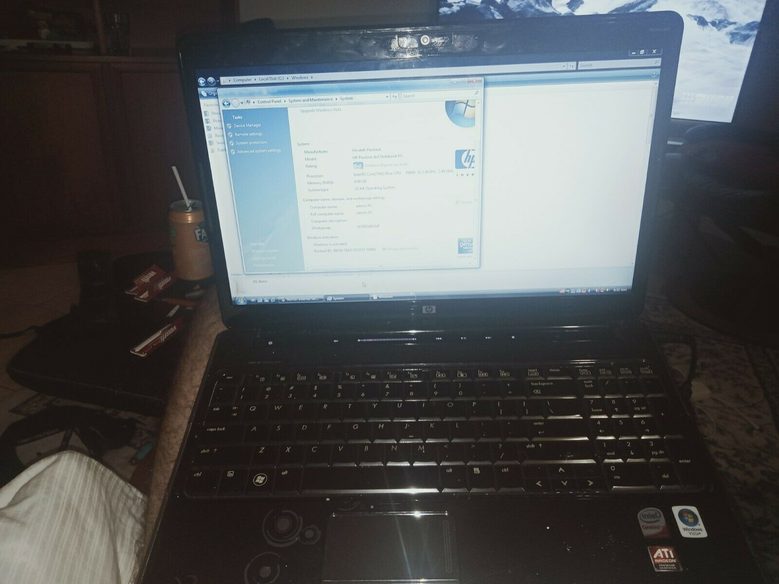 "Laptop Windows - HP laptop dv6-1143tx intel centrino 15.6"" 4GB RAM 500GB HDD Windows vista."