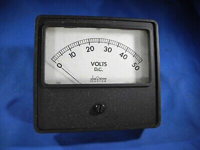 Phaostron Square 0-50 Volts D.c. Panel Meter Metal