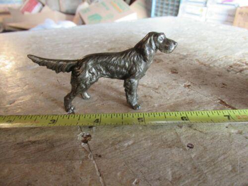 """Vintage Metal Setter Pointer Hunting Dog Figurine 3"""" Long   Lot 20-87-5ec"""