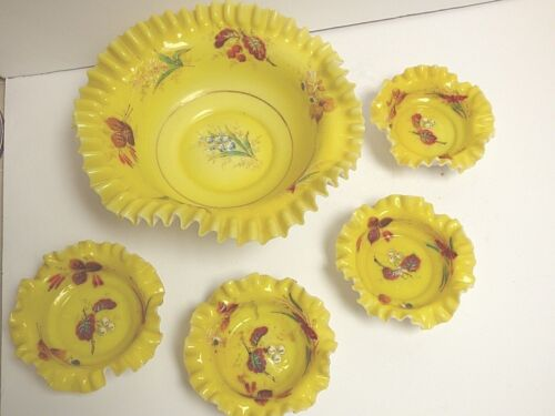 VICTORIAN HAND PAINTED LARGE SERVING BOWL RUFFLED CENTERPIECE 4 SMALL BOWLS