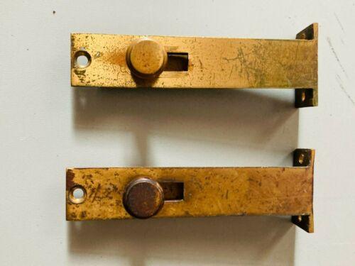 Vintage Set of 2 Brass DOOR DEADBOLTS Small