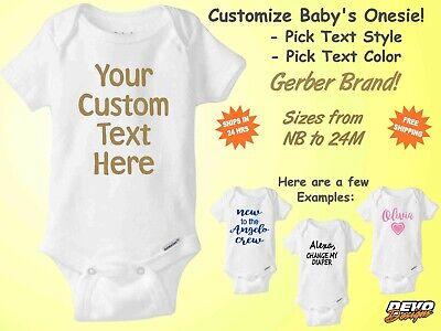 Custom Gerber Onesie Personalized Infant Baby Shower Gift Cute Funny Boy Girl (Custom Onesies)
