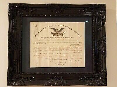 1864 CIVIL WAR Ohio VOLUNTEER Original DOCUMENT ABRAHAM LINCOLN Edwin Stanton
