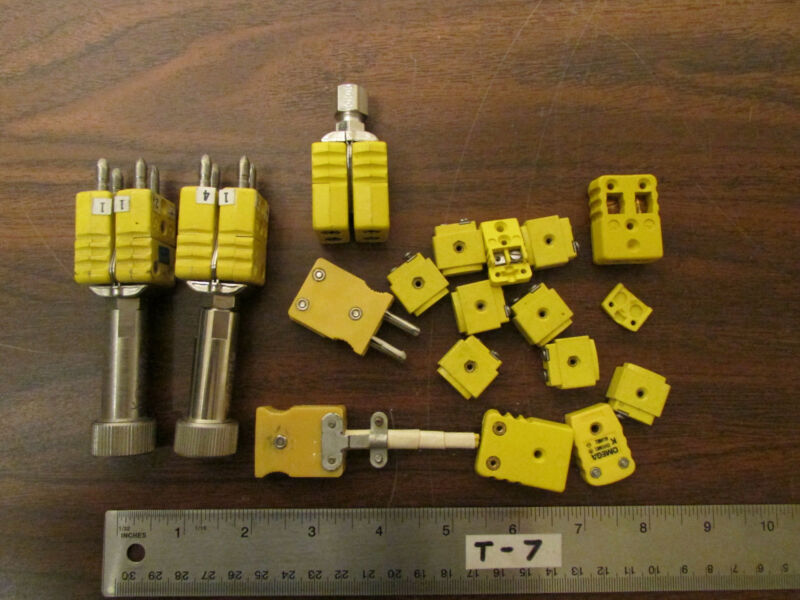 Bag of 18 Assorted Yellow Thermocouple Connectors Omega & Marlin