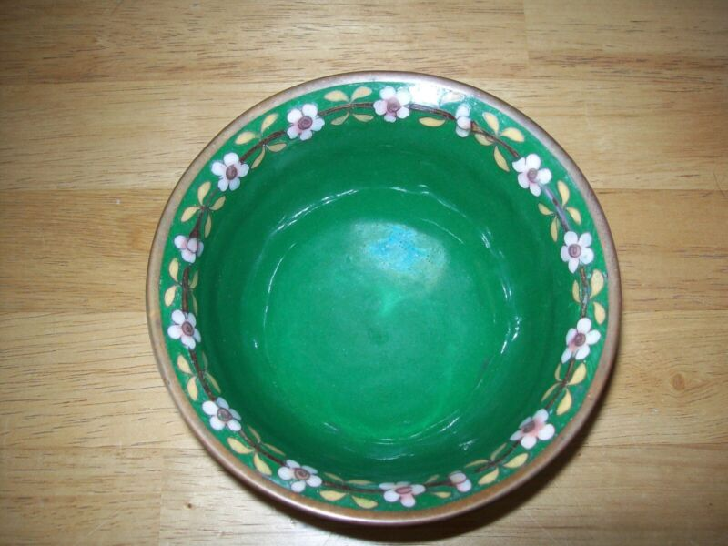"""Marked Old Chinese 5"""" CLOISONNE BOWL/CUP with FLOWERS and FINE DETAIL"""