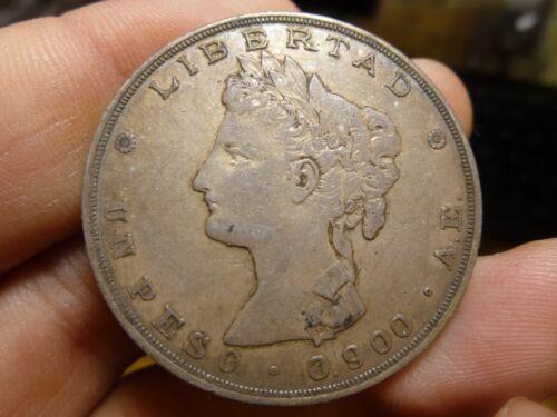 1882 AE Guatemala Un Peso Silver