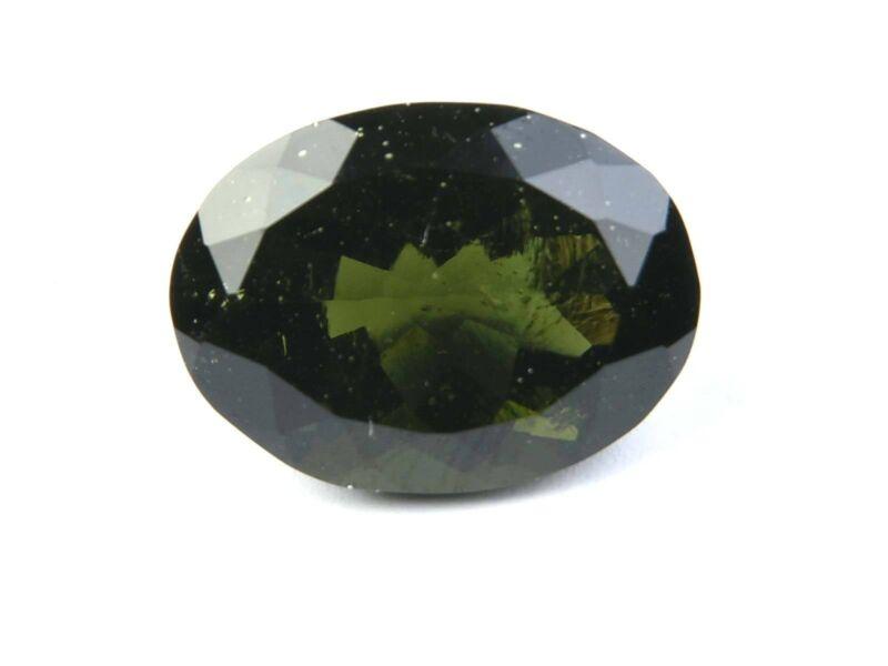 15.83cts STANDART CUT OVAL moldavite faceted cutted gem BRUS1604