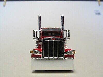 DCP FIRST GEAR 1/64 SCALE 389 PETERBILT FLAT TOP, RED WITH BLACK & SILVER STRIPE 3