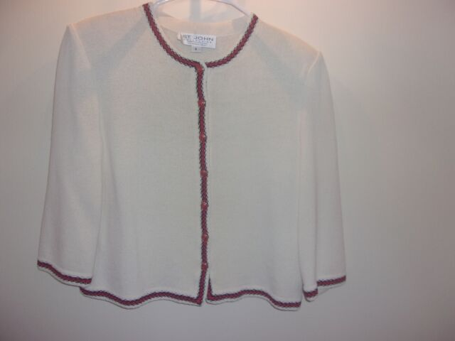 Beautiful St John Collection Women's White Knit Jacket Red Detail Size 8