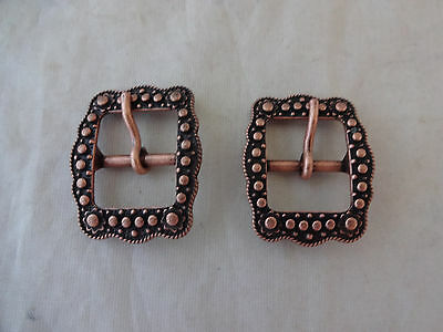 "Pair Belt Buckles Antiqued Copper Berry 5/8"" Horse Western Tack Weaver Leather"