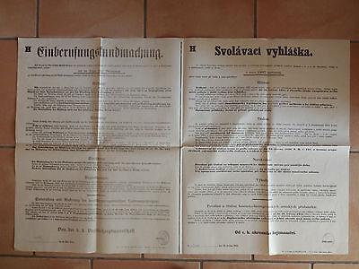 altes Plakat 59 x 92 cm Anschlag EINBERUFUNGSKUNDMACHUNG K. & K. 1915 ( 7310