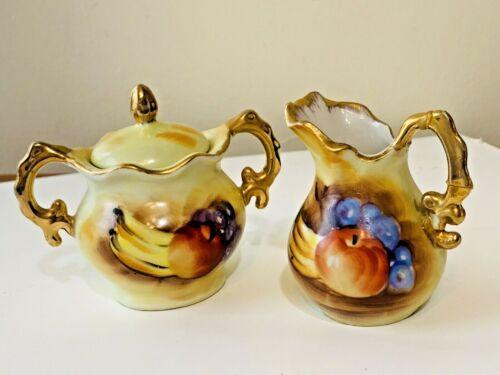 Enesco Japan Mini Creamer & Sugar Bowl Set - Fruit Pattern - E2351 - Vintage