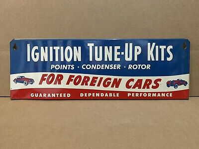 Vintage Ignition Tune Up Kit Sign Foreign Cars Points Condenser Rotor Gas Oil