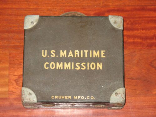 Antique WWII U.S Maritime Commission Cruver Mfg Lifeboat Navigation Sextant 1940