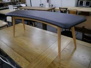 New Scandi Danish Gangnam Black Padded Bench Seat Dining Chair