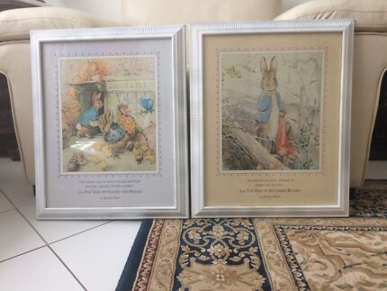 Peter rabbit prints child baby room - large vintage pair