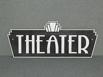 Vintage Style Art Deco Silver & Black Theater Sign Movie Home Theater Decor