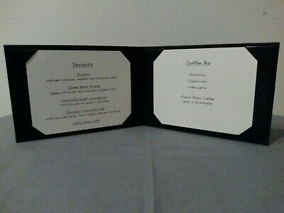Menu Cover 6 X 4 - Deluxe Black Leather - 2 View - Light Use. Lot Of 4 Each