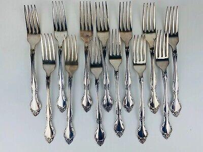 4  CUBE Oneida Community Silver  AFFECTION  Silverplate Salad Dessert Forks  NEW