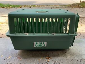 Pet carrier cage travel kennel - medium size - handle & wheels