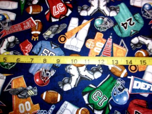Football Equipment & Apparel Toss Gridiron BLUE Cotton Fabric by Dan Morris BHTY