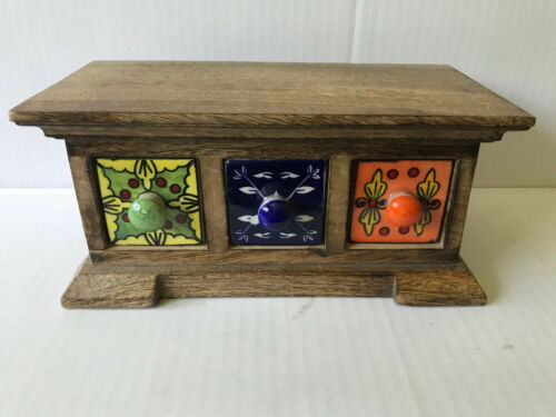 MADE IN INDIA WOOD APOTHECARY SPICE CABINET 3 CERAMIC DRAWERS OR JEWELRY BOX