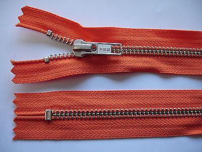 2 Stück Reißverschluß YKK orange  19cm lang, nicht teilbar Y79