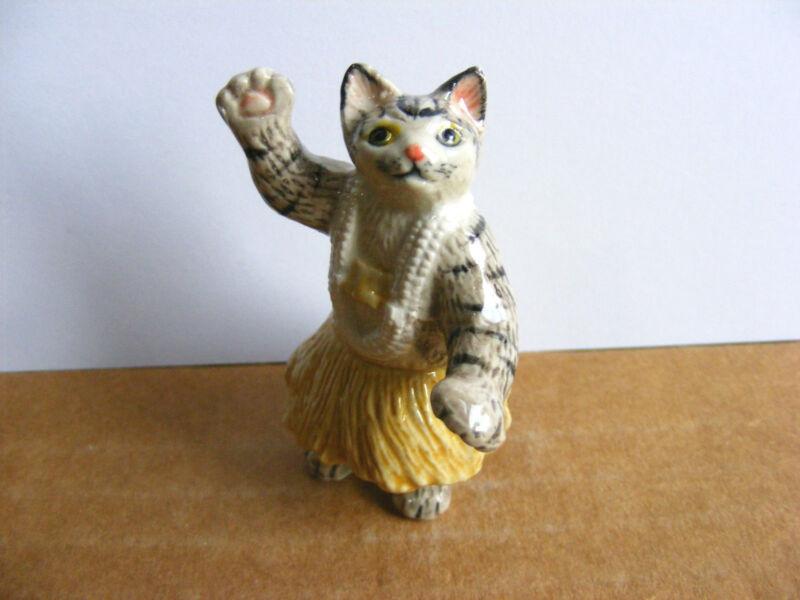 Klima Hula Cat Miniature Animal Figurine Dancing Kitty Wildlife Charity