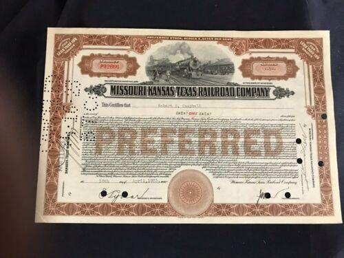 Vintage 1928 Missouri Kansas Texas Railroad Company Preferred Certificate